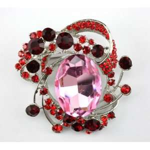 RED SWAROVSKI CRYSTAL FANCY BROOCH PIN