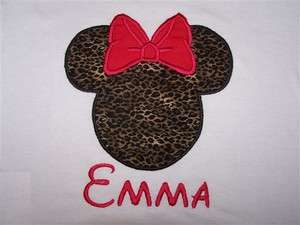 Personalized Custom MINNIE MOUSE Cheetah Leopard Bow Birthday Shirt