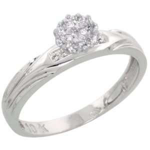 Gold Diamond Engagement Ring, w/ 0.06 Carat Brilliant Cut Diamonds