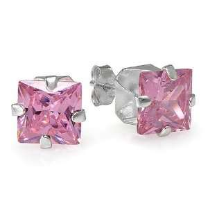 Sterling Silver 6mm Pink CZ Cubic Zirconia Square Stud
