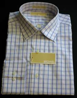 MICHAEL KORS Mens Plaid Dress Shirt White/Blue SizesL & XL (16 & 17
