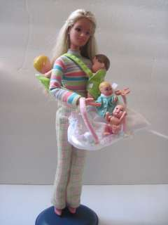 Teen Skipper barbie cool sitter doll & 2 Happy Family newborn babies