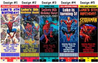 Spiderman ~ Birthday Party Ticket Invitations, Supplies, and Favors