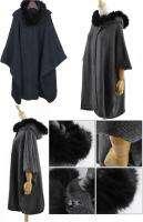 SJ20 womens sweater free size BEIGE GRAY FOX FUR COLLAR
