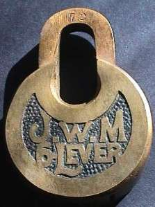 Antique Bronze/Brass? Vintage J.W.M 6 Lever Push Key Padlock