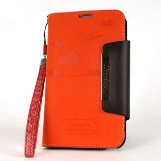 NEW SAMSUNG Galaxy Note ORANGE Leather Case Cover Flip Clutch Stand