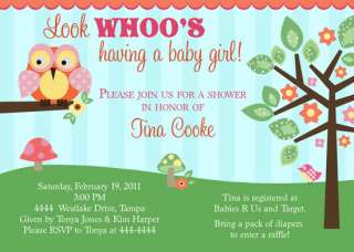 OWL BABY SHOWER INVITATIONS U PRINT MANY DESIGNS FAST