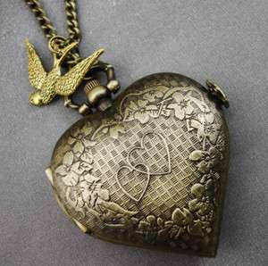 Gold Heart Pocket Watch Locket Necklace Swallow LARGE Steampunk