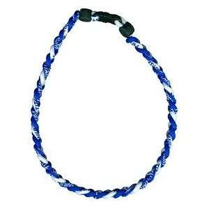 Titanium Ionic Braided Necklace   Royal Blue/White Sports