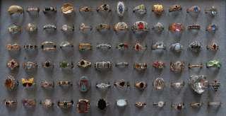 72 Rings in Tray Vintage Costume Fashion Jewelry Huge Lot Rhinestone