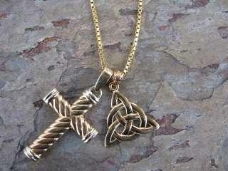 14K Yellow Gold Irish Scottish Celtic Trinity Knot Pendant Charm NEW