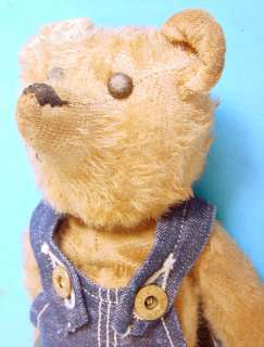 "STEIFF 12"" GOLDEN TEDDY BEAR IN BUDDY LEE JEANS OVERALLS"