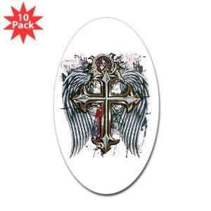 Sticker (Oval) (10 Pack) Cross Angel Wings