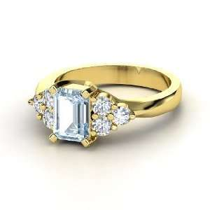 Apex Ring, Emerald Cut Aquamarine 14K Yellow Gold Ring