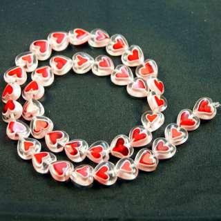 Cool 10mm Millefiori Glass Heart Shaped Loose Beads 40X
