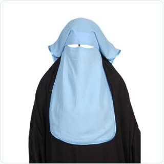 blue satin Niqab veil burqa face cover Hijab Abaya