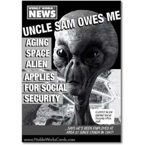 Birthday Card Alien Social Security Humor Greeting Weekly World News