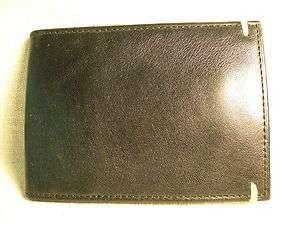 Dockers Mens Black/Brown Full Grain Leather Slimfold Wallet