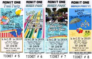 POOL BEACH WATER PARK BIRTHDAY PARTY TICKET INVITATIONS VIP PASSES AND