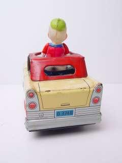 Vintage Disney Donald Duck Celluloid Duckmobile Tin Car