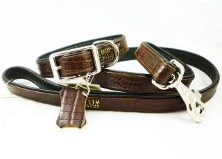 Leather Dog Collar Leash Croc Embossed Set 15 19 Large