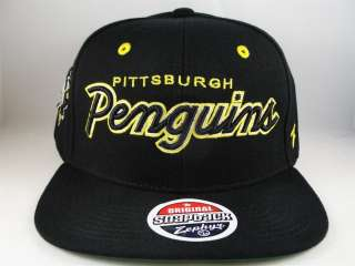 NHL PITTSBURGH PENGUINS ZEPHYR FLAT BILL SNAPBACK HAT CAP GREEN
