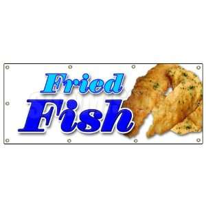 FISH BANNER SIGN fry fish deep seafood sea food fresh batter: Patio