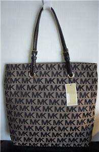 MICHAEL KORS BLACK N/S ITEMS MK LOGO JACQUARD SIGNATURE SHOPPER TOTE