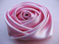 10 Big Satin 4d Rose 3 Craft Wedding Hair Bow Headband Pink RF122