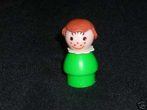 Fisher Price Little People Vintage Green GIRL Freckles
