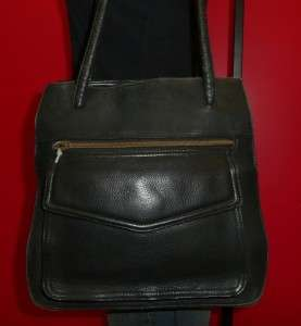 Vintage Fossil Black Leather Medium Rugged Satchel Tote Shoulder Purse