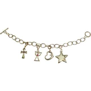 Angel, Heart and Star Silver Tone Charm Bracelet Personalized Gifts