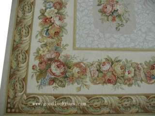 English Garden Design Roses Fruit Wool Needlepoint Area Rug~New