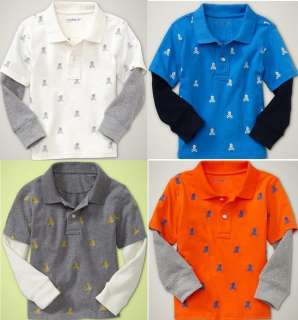 Skull Knit Polo Rugby 2in1 Thermal Sleeve Shirt Top U Pick NEW