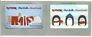 Lot 2 TJ Maxx HomeGoods Marshalls Gift Cards No $ Value