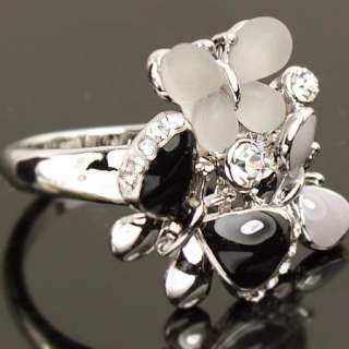 White Gold GP Swarovski Crystal Butterfly Ring a660
