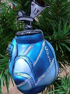 New Glass Blue Golf Bag Flag Clubs Christmas Ornament