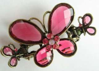 SWAROVSKI CRYSTAL VINTAGE BRONZE BUTTERFLY HAIR CLAW 529 HOT ITEM