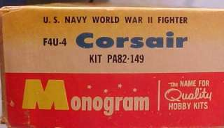 1962 Monogram CORSAIR F4U 4 MODEL KIT Partially Built