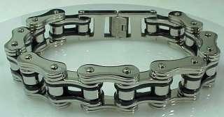 Bracelet Stainless Steel Black Silver Heavy Metal Skull Bones Harley