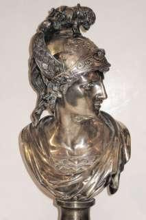 Greek Hermes & Ares Silvered Bronze Bust Sculptures