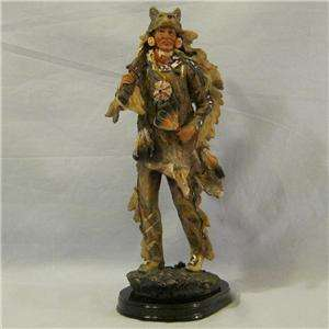 Indian with Wolf Headpiece Figurine