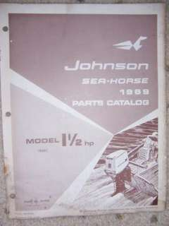 1969 Johnson Motor Parts Catalog Sea Horse 1 1/2 HP M