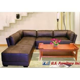US Furniture 3 Pc. Dark Brown Sectional Full Bonded Leather Modular