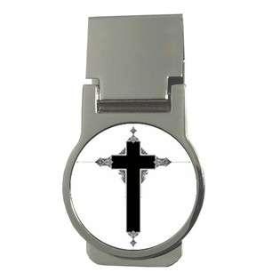Money Clip Round of Ornate Religious Christian Jesus Christ Cross