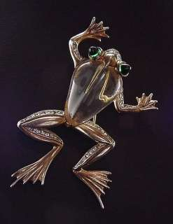 Cute Antique 1943 Trifari Crystal Frog Jelly Belly Brooch Pin
