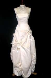 NWT Jessica McClintock Ivory Satin Bustled Dress Ball Gown Size 4