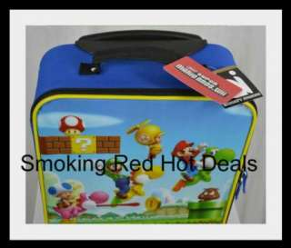 Super Mario Bros. Rolling Luggage Suitcase Kids Rare Luigi Toad Yoshi