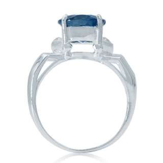 88 ct. London Blue & White Topaz 925 Sterling Silver Cocktail Ring