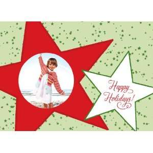 Red & Green Stars Photo Card Holiday Cards Everything